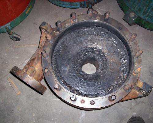 Worn pump casing - before repair and rebuild