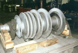 Turbine-carbide coated bearing and seal areas