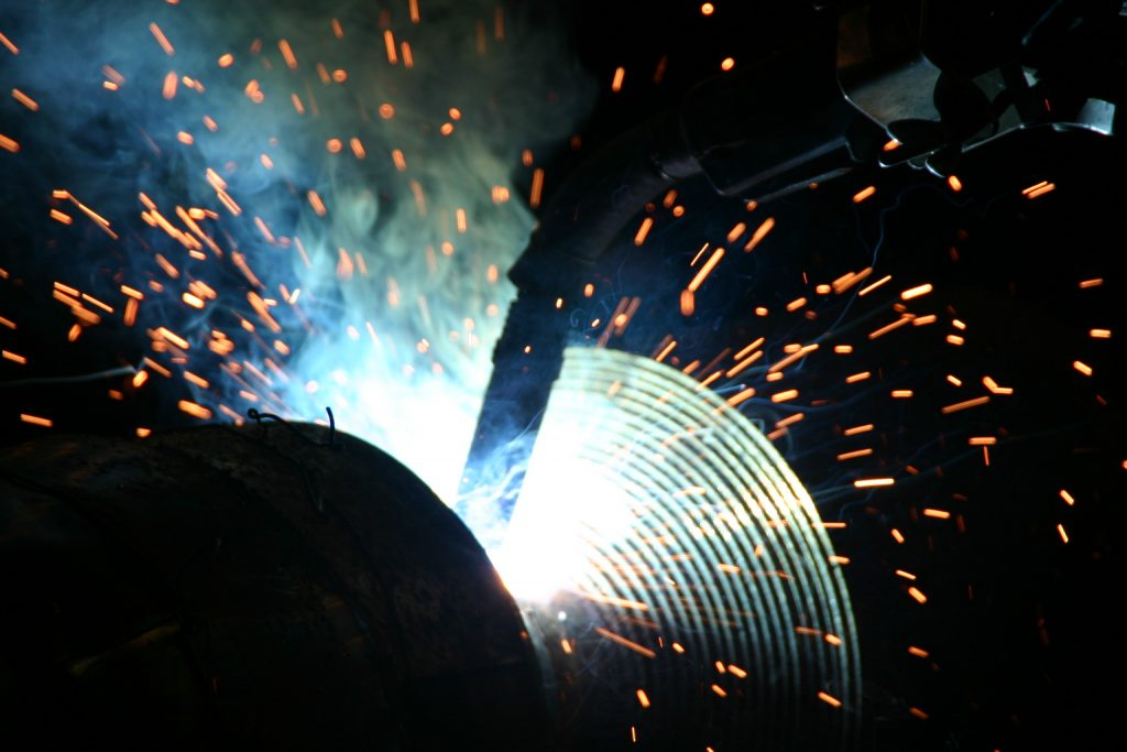 Mig-welding stubbing new shaft on