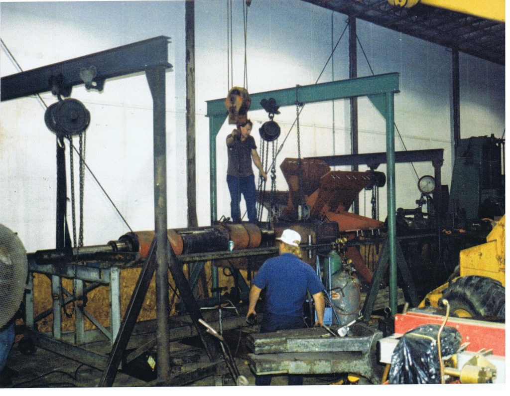 "250 ton Horizontal Press swapping shafts on a fan - 60"" diameter x 20-30ft length"