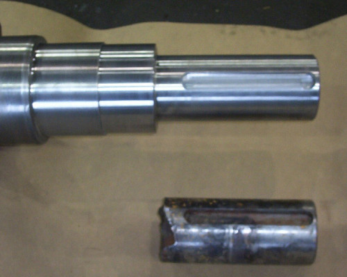 Large granulator shaft broken end - stubbed new end & repaired bearing area