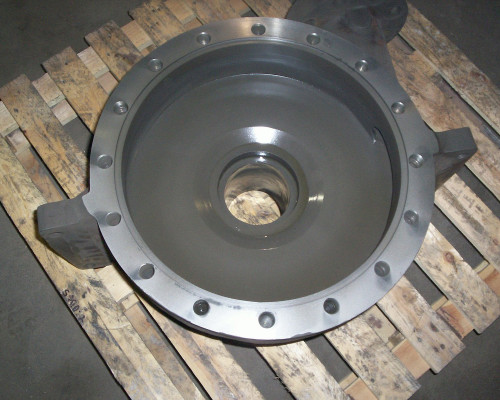 Pump casing repaired and carbide coated
