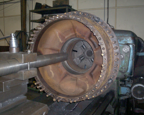 CAT loader wheel hub - rebuilt bearing areas