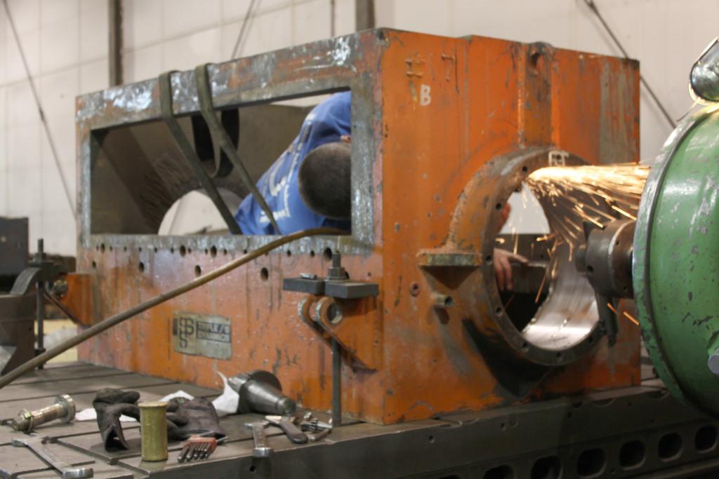 Granulator box - machining bearing bore