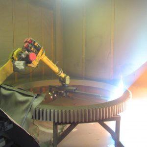 Twin Wire Arc spraying an 11' I.D gear